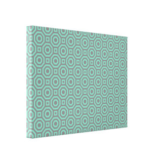Gray-Lucite Green Nested Octagon Wrapped Canvas