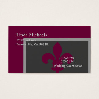 Gray & Magenta Fleur De Lis Business Card