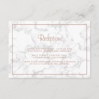Gray Marble & Rose Gold Script Wedding Reception Enclosure Card