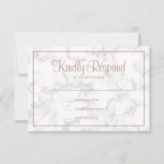 Gray Marble & Rose Gold Script Wedding RSVP Card