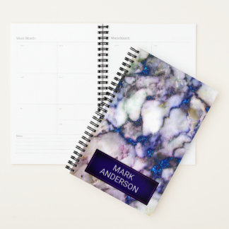 Gray Marble Stone And Blue Glitter Planner