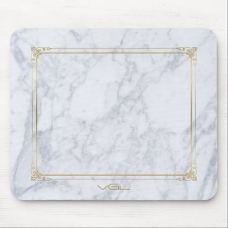 Gray  Marble Stone Gold Vintage Frame Mouse Pad