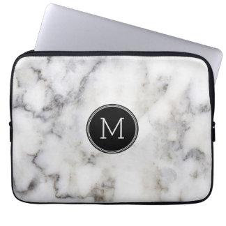 Gray Marble Stone Monogram Laptop Sleeve