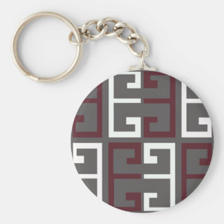 Gray, Maroon and White Tile Keychain
