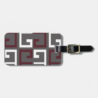 Gray, Maroon and White Tile Luggage Tag