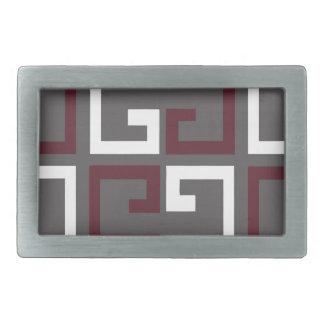 Gray, Maroon and White Tile Rectangular Belt Buckle