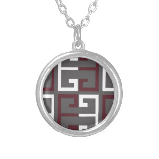 Gray, Maroon and White Tile Silver Plated Necklace
