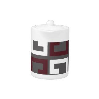 Gray, Maroon and White Tile Teapot