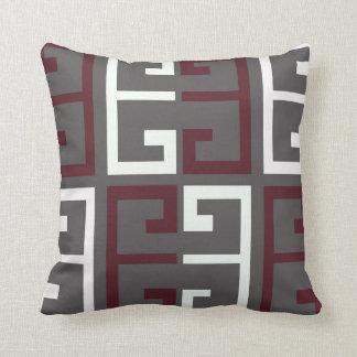 Gray, Maroon and White Tile Throw Pillow