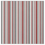 [ Thumbnail: Gray, Maroon & Mint Cream Stripes Pattern Fabric ]