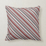 [ Thumbnail: Gray, Maroon & Mint Cream Stripes Pattern Pillow ]