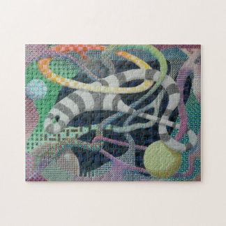Gray Matter Psychedelic Grid Design Jigsaw Puzzle