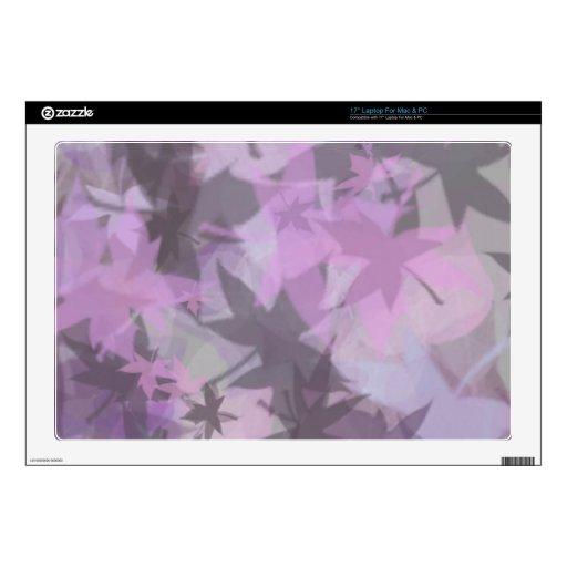Gray Mauve Mystical Leaf design Laptop Decal