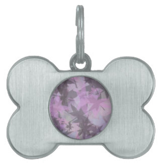 Gray Mauve Mystical Leaf design Pet ID Tags