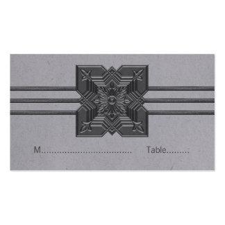 Gray Medallion Border Place Card Business Card Templates