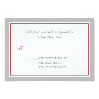 "Gray & Merlot Red Wedding Reception RSVP Cards 3.5"" X 5"" Invitation Card"
