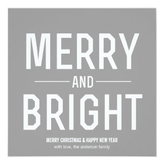 Gray Merry & Bright Christmas Photo Flat Cards