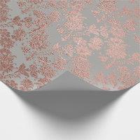 Gray Metal Pink Rose Gold Powder Faux Blush Floral Wrapping Paper