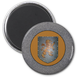 Gray Metal Shield Lion Chainmail 2 Inch Round Magnet