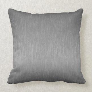 Gray Metallic Brushed Aluminum Look Throw Pillow