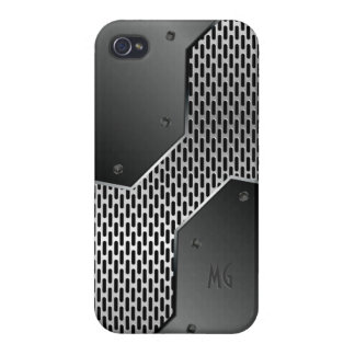 Gray Metallic Look Geometric Pattern. iPhone 4 Case