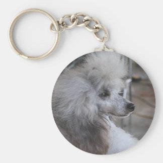 Gray Miniature Poodle Key Chain