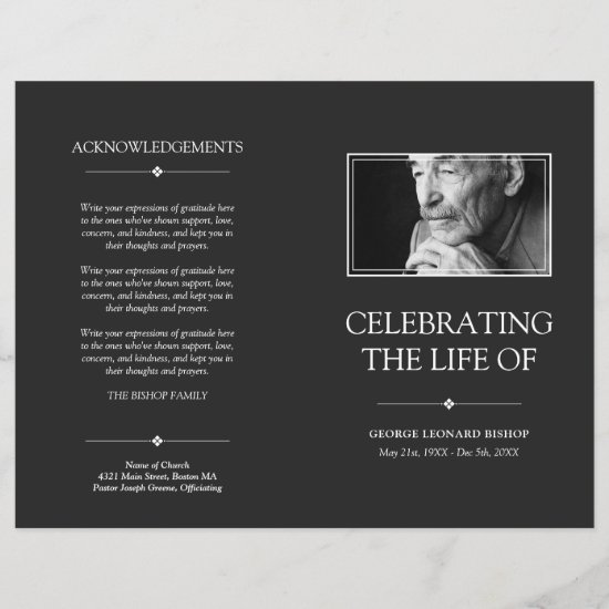 Gray Minimal Celebration of Life Funeral Program