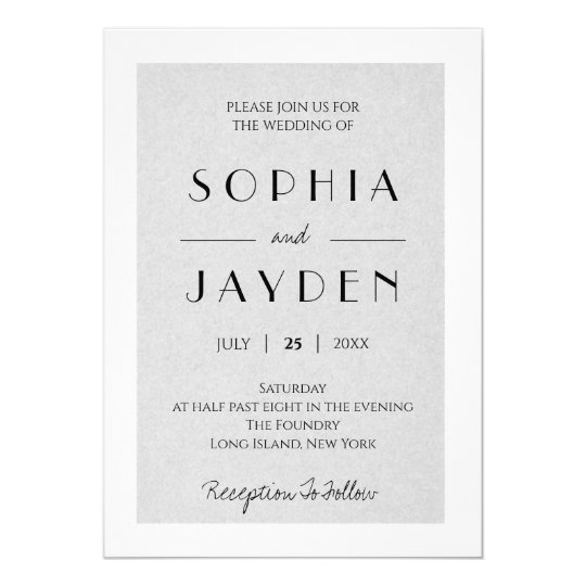 Gray Minimalist Wedding Invitation
