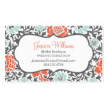 Gray Mint and Coral Retro Floral Damask Business Cards