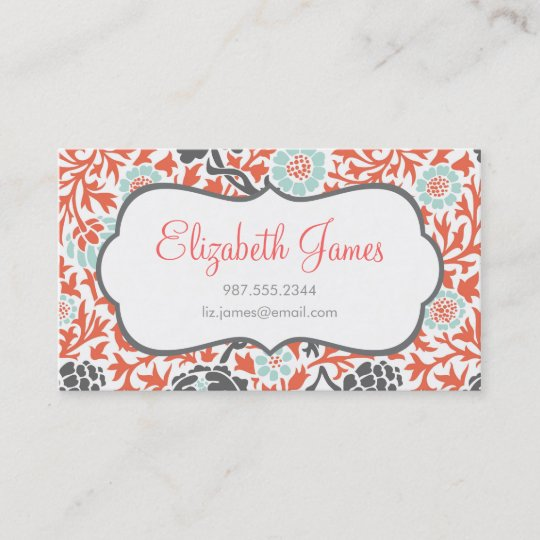 Gray mint and coral retro floral damask business card zazzle gray mint and coral retro floral damask business card reheart Choice Image