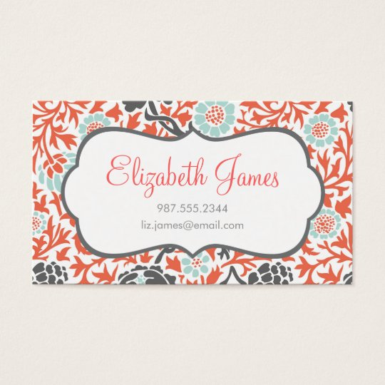Gray mint and coral retro floral damask business card zazzle gray mint and coral retro floral damask business card reheart Gallery