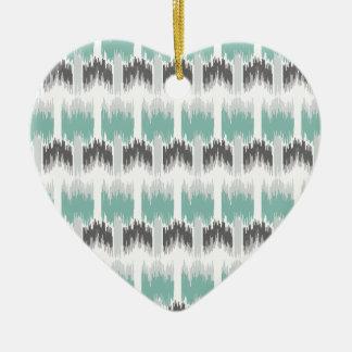 Gray Mint Aqua Modern Abstract Floral Ikat Pattern Ceramic Ornament