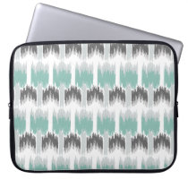 Gray Mint Aqua Modern Abstract Floral Ikat Pattern Computer Sleeve