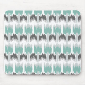 Gray Mint Aqua Modern Abstract Floral Ikat Pattern Mouse Pad