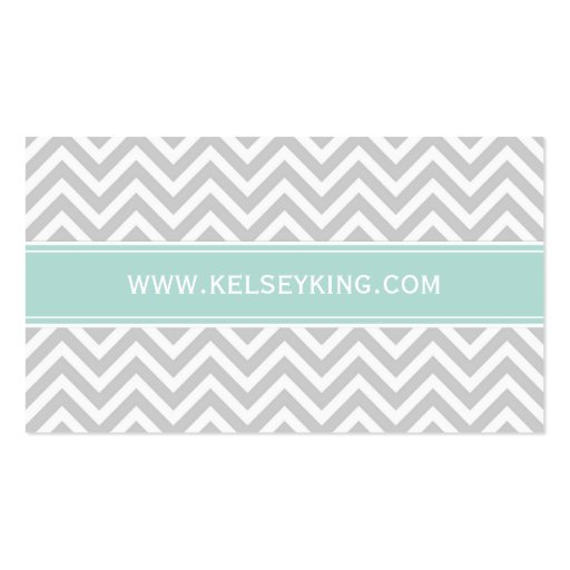 Gray & Mint Chevron Custom Monogram Business Card Templates (back side)