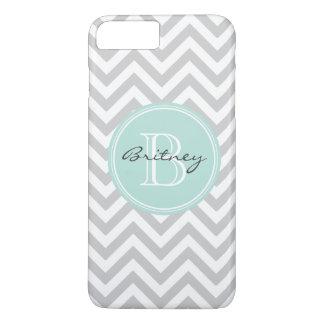 Gray Mint Chevron Pattern Custom Monogram iPhone 7 Plus Case