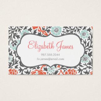 Gray Mint & Coral Retro Floral Damask Business Card