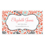 Gray Mint & Coral Retro Floral Damask Business Card Template
