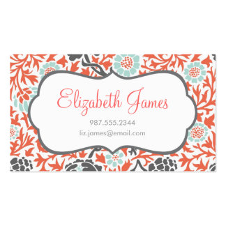 Gray Mint Coral Retro Floral Damask Business Card Template
