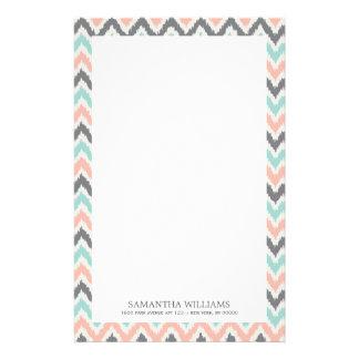 Gray Mint Coral Zigzag Ikat Pattern Stationery Paper