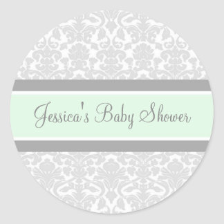 Gray Mint Damask Baby Shower Favor Stickers