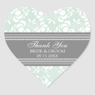 Gray Mint Damask Thank You Wedding Favor Tags Heart Sticker