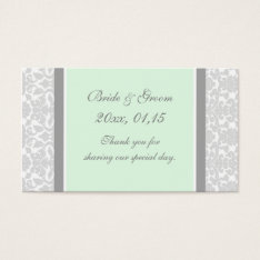 Gray Mint Damask Wedding Favor Tags at Zazzle
