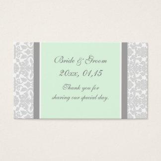 Gray Mint Damask Wedding Favor Tags