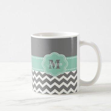 Coffee Themed Gray Mint Green Chevron Personalized Mug