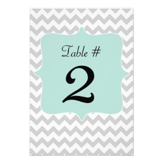 Gray & Mint Green Wedding Table Number Card