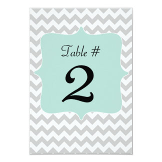"""Gray & Mint Green Wedding Table Number Card 3.5"""" X 5"""" Invitation Card"""