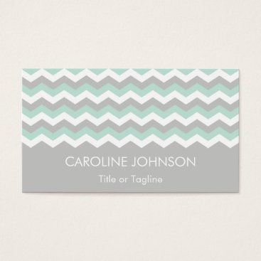 Professional Business Gray Mint Green White Chevron Zigzag Stripes Business Card
