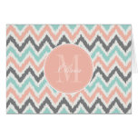 Gray Mint Peach Zigzag Ikat Pattern Greeting Card