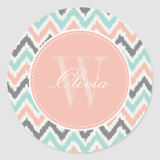 Gray Mint Peach Zigzag Ikat Pattern Monogram Classic Round Sticker